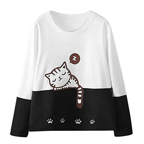 MIRRAY Damen Langarm-Katze Stickerei Sweatshirt Herbst Shirt Pullover Tops Bluse