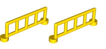 LEGO Duplo - 2x gelbes Geländer Zaun Reling Absperrung - Eisenbahn / Bahnhof