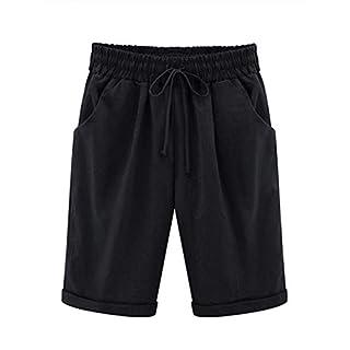 Elonglin Damen Bermuda Shorts Baumwolle Knielang Sommer Kurze Hose mit Tunnelzug Frauen Große Größen Locker Stretch Schwarz DE L(Asie XXL)