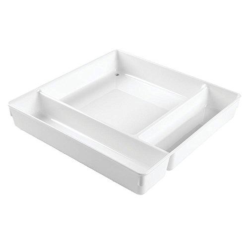 iDesign 53631EU Rangement de tiroir de Cuisine Linus Kitchen pour Couverts, spatules, Objets divers-30, 1cm-Blanc, Plastique, White, 30,48 x 30,48 x 5,1 cm