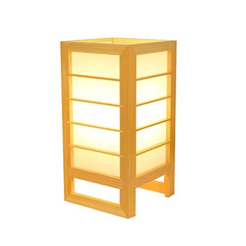 Sxy lampada da tavolo in legno fatto a mano in legno massello giapponese, lampada da comodino a risparmio energetico moderna a led, lampada da tavolo semplice da studio (color : white light)