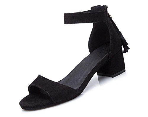 Student Sommer Quaste Schuhe Wort offene Spitze Sandalen mit dicken Schnalle mit der Black