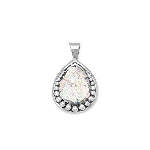 Sterling Silber PEAR Form Alten römischen Glas Anhänger mit Perle Design Charme -