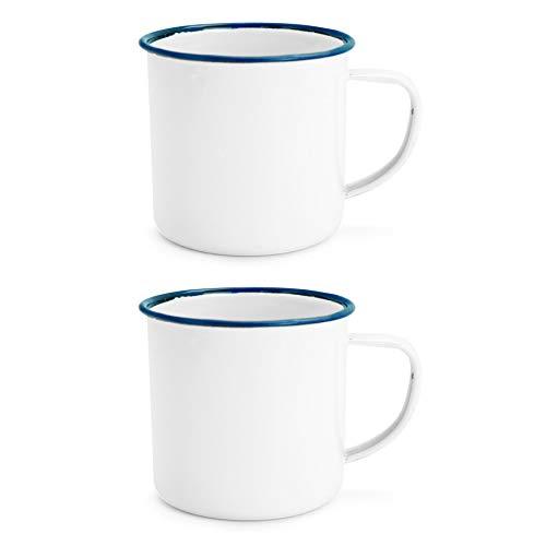 Rink weißen Emaille-Kaffee/Teetassen Drink - 240ml - Blau-Ordnung - 2er Pack
