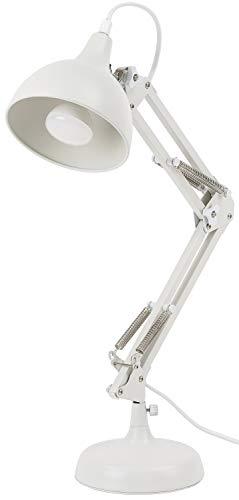 BRUBAKER - Lampe de bureau/de table - Bras articulé réglable - Design industriel/classique - Métal - Hauteur jusqu'à 53 cm - Blanc