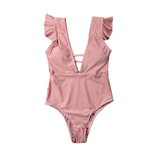 VBWER Damen Volant High Waist Bikini Set Sexy Nackenträger Push Up Zweiteiliger Bikinis Einfarbig Strand Swimwear Sportliches Bademode