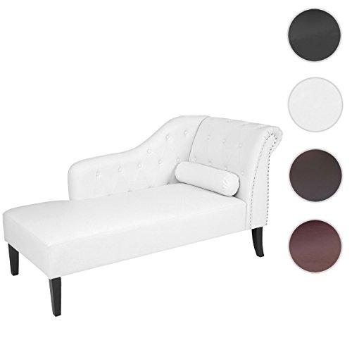 Divano angolare recamiere classico stile vittoriano chesterfield ecopelle 76x156x89cm bianco