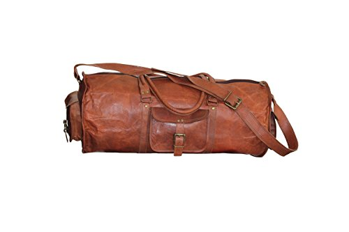Craftvilla Vintage Cuir Marron Duffle Sac de Voyage Bagages, Sac de Sport, Sac de Taille Cabine