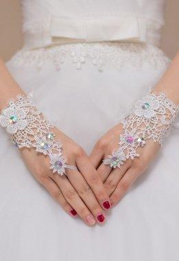 ce Floral Muster und mit Handgelenk Länge Fingerlose Handschuhe Braut Hen night Kostüm Clubwear Hochzeit (Braut Kostüm Für Frauen)