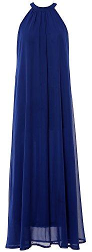 MACloth Women Sleeveless Halter Chiffon Long Evening Gown Formal party Dress Royal Blue