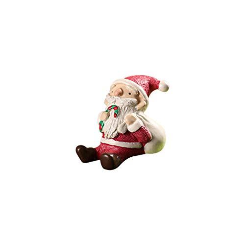 (Weihnachten Tischdekoration,Wawer Harz Miniatur Weihnachten Tiere Ornamente Kreativer Mikrolandschafts Blumentopf Dekorative DIY Harz Handwerk Ornamente Weihnachts Geschenke (B))