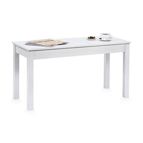 Galdem Couchtisch Wohnzimmertisch Esstisch Beistelltisch Weiß 58x110x47cm