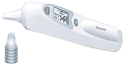 Beurer Ohrthermometer FT 58 Fieberthermometer, silber/weiß