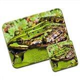 Verde de agua de rana Premium de alfombrilla de ratón y juego de posavasos de