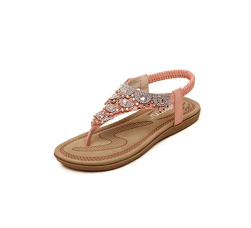 Women Shoes Gladiator Women Sandals Fashion Summer Shoes Women T-Strap Flat Sandals Flip Flops Ladies Slippers Casual Sandalias Pink 5.5