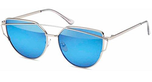 UVprotect Damen Katzenauge cat eye Sonnenbrille silber-blau W99-3