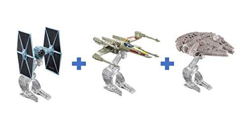 Hot Wheels Star Wars Starship Raumschiff 3 er Set : 1 x Milenium Falcon, 1 x X-Wing Fighter Red, 1 x Tie Fighter Star Wars - Spielzeug Geschenk zu Weihnachten zum Geburtstag - SW 04