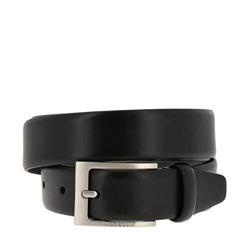 BOSS Ceinture HUGO pour homme, Brondon, cuir véritable avec boucle en métal, logo - noir: : 90 cm