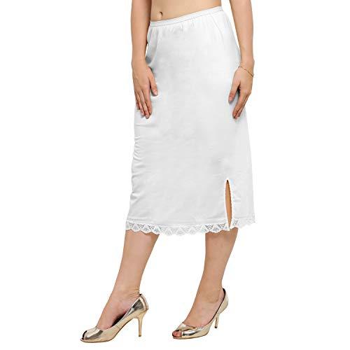 Ziya Pure Cotton Skirt Slip with Side-Slit (White, Large)