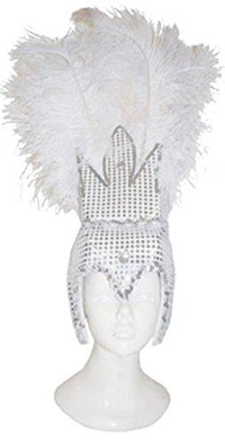 Accessoire- Samba Feder Kopfschmuck- Pailletten besetzt- Brasilianischer Karneval, Erwachsenen Kopfbedeckung, Weiß (Brasilianische Kostüme Halloween)