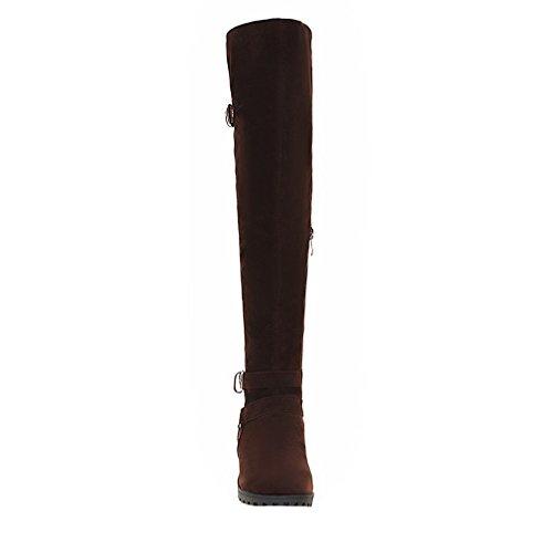 ENMAYER donne metallo decorativi attorno la cerniera nabuk della bassa tacco in ginocchio gli stivali Marrone#76