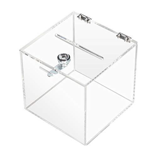 HMF 46919 Scatole di Donazione, Promozioni di Acrilico trasparente, Urna per Votaciones, Cubo, 15,0 x 15,0 x 15,0 cm