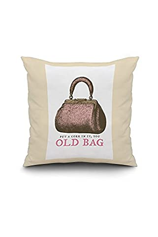 Put A Cork In It, You Old Bag - Breathless Paper Co. Artwork (18x18 Spun Polyester Pillow Case, Black Border)