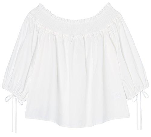 FIND Damen Carmen-Oberteil mit Schnürdetails Weiß (White)