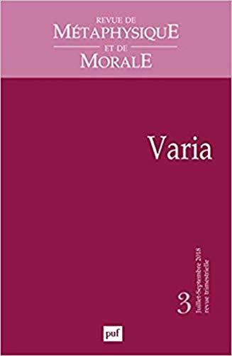 Revue de métaphysique et de morale 2018, n° 3