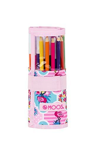 Safta -Moos  Flamingo Pink Oficial Estuche Enrollable Útiles Incluidos 70x200mm