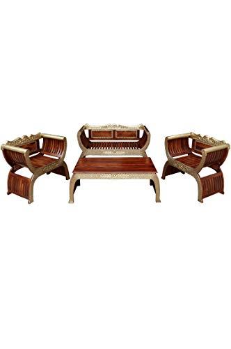 4er Set Orientalische Lounge Sitzecke aus Holz Kavita Braun Gold | Marokkanische Sitz-Gruppe Sofa 2 Sitzer Zwei Sessel und EIN Couchtisch Outdoor im Garten Balkon oder Indoor im...