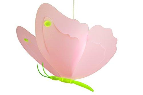 R & M Coudert lámpara de techo para niños diseño mariposa rosa verde