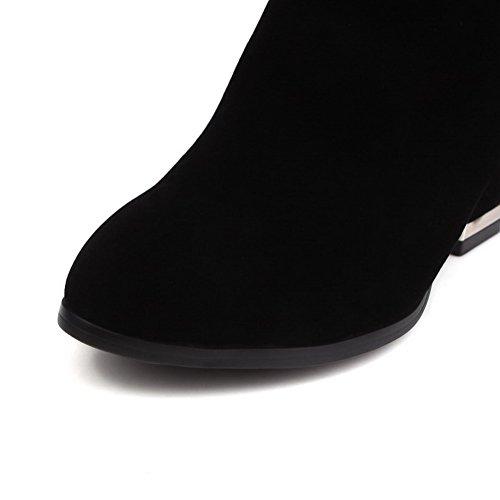 AgooLar Damen Ziehen Auf Rund Zehe Hoher Absatz Mitte-Spitze Stiefel Schwarz
