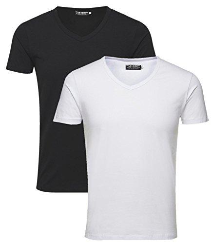 JACK & JONES 3027 T-Shirt 2er Pack Herren Basic Shirt V-Neck (T-shirts V-neck 2 Pack)