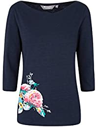Mountain Warehouse St Ives Printed Womens Top - 100% Cotton Summer Tshirt, Boat Neck Ladies Blouse, Quality Print, Funny Tee -for Travelling, Picnic, BBQ Party, Holidays