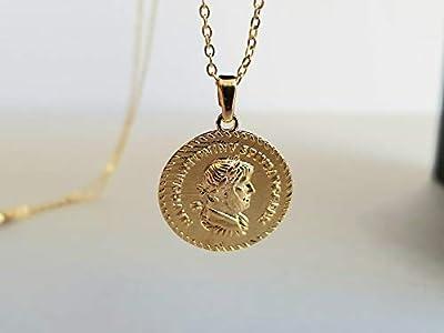 Sautoir pendentif médaille antique empereur romain