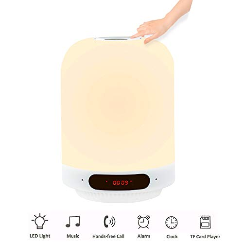 Luxvista USB 5W 5V Multi-función Recargable Lámpara de mesa, Luz Nocturna con Bluetooth Speaker mono, Despertador, FM Radio (Luz Cálida Regulable y RGB)