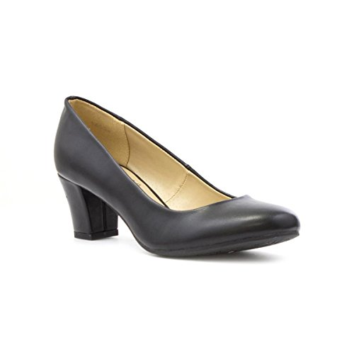 Lilley Womens Black Matte Heeled Court Shoe - Size 5 - Black