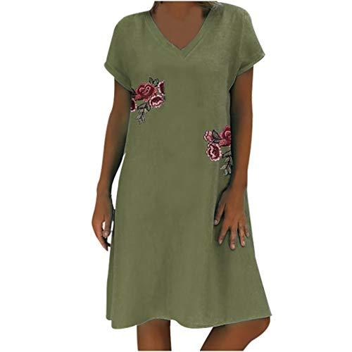 BCFUDA Kleid Frauen Mode Sommer Kurzarm Kleid Baumwolle und Leinen Atmungsaktiv Kleid V-Ausschnitt Applikation Knie Kleid Casual Bequem Lose Strand Kleid -