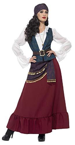 Piraten Luxuriöse Kostüm - Damen Deluxe Fortune Pirat Gypsy Fortune Teller Halloween Karneval Kostüm Outfit UK 8-22