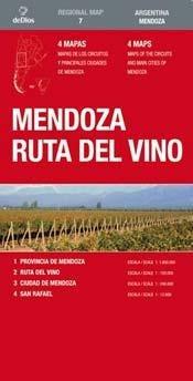 mendoza, ruta del vino mapa de carreteras. Escala 1:120.000. De Dios Editores. (Regional Map)