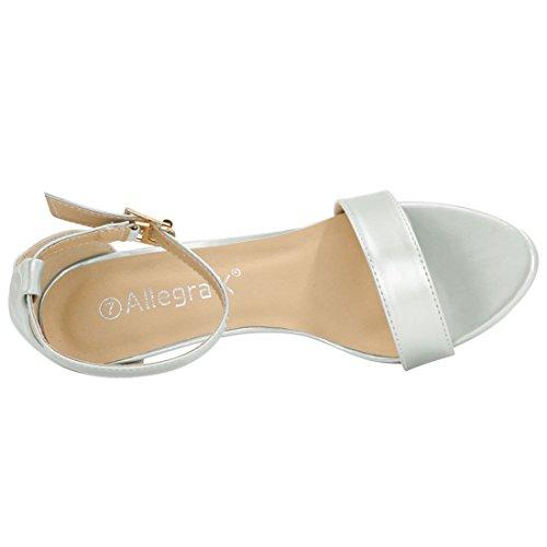 Allegra K Femme talon haut bout ouvert bride cheville métallique sandales silver