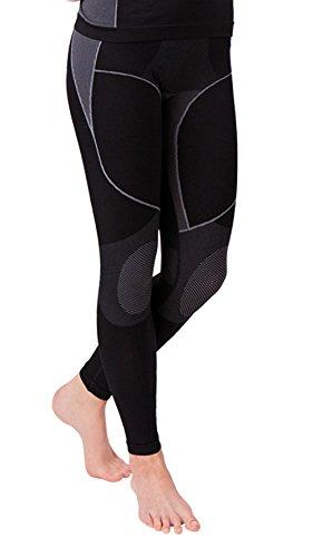 Nahtlose Damen Seamless Ski Funktionswäsche, Outdoor Unterwäsche, aus geschmeidigem Microfaser Material wählbar als Hose, Hemd 1/2 arm oder Hemd langarm (L/XL, Hose grau/schwarz)(13894) (Seamless Warmers Arm)