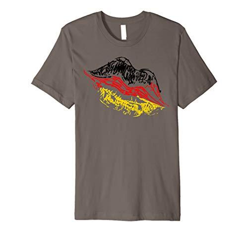 Deutschland Kussmund Lippen Tshirt Geschenk Fussballfan