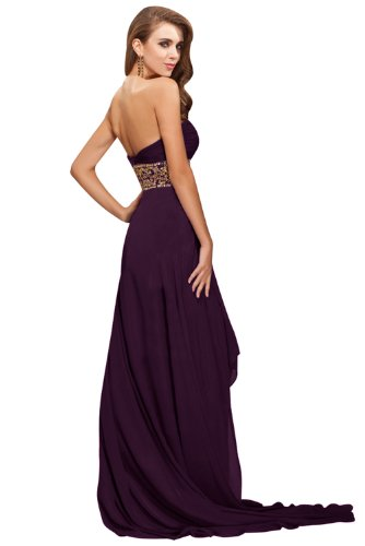 Elegant Neu Herzform Chiffon Steine Hi-Lo Abendkleid auf Lager Partykleider Grape