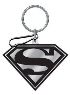 Click for larger image of Black And Silver Superman Enamel Key Chain