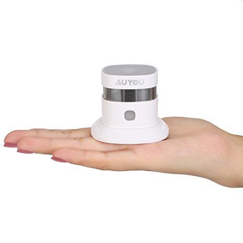 AUYOU Mini Detector de Humo con Sensor Fotoeléctrico, Alarma de Incendios, Alimentado por Batería para la Seguridad del Hogar, Fácil de Instalar, Blanco(1-Pack)