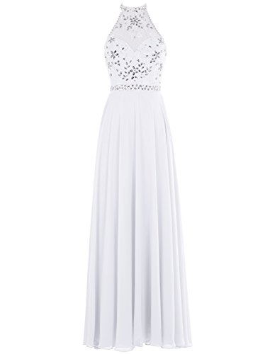 Bbonlinedress Robe de cérémonie Robe de soirée longue en mousseline dos nu emperlée Blanc