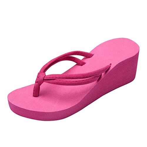 Frauen keil Ferse flip Flops böhmischen dicken Clip Toe Schuhe unterm Platten Strandschuhe Outdoor Freizeit Sandalen - Frauen-plattform Für Qupid Sandalen