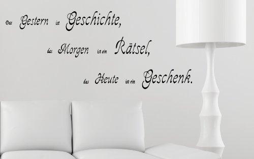 XXL Spruch Geschichte Rätsel Geschenk Familie 12tlg. Wandtattoo B351 (schwarz)